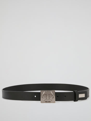 Black Monogram Pin Buckle Belt