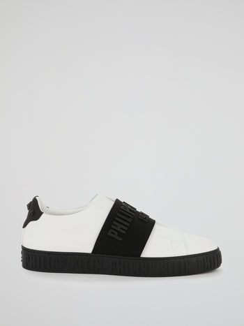 PP1978 White Contrast Front Strap Sneakers