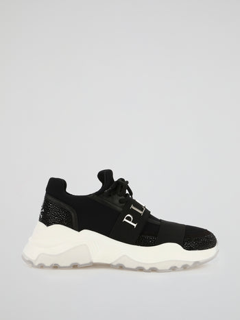 Black Crystal Mesh Runner Sneakers