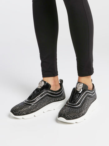 Black Crystal Skull Slip On Sneakers