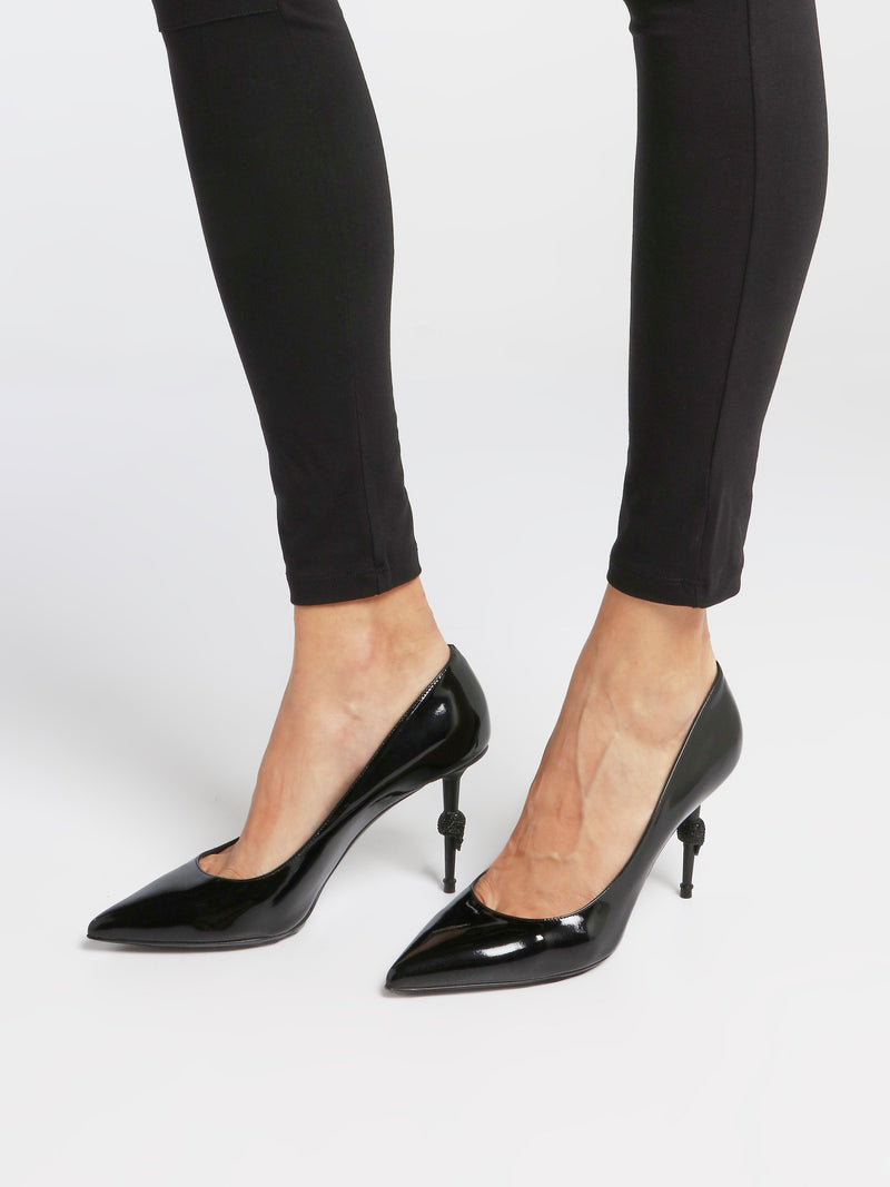 Black Skull Mid-Heel Pumps