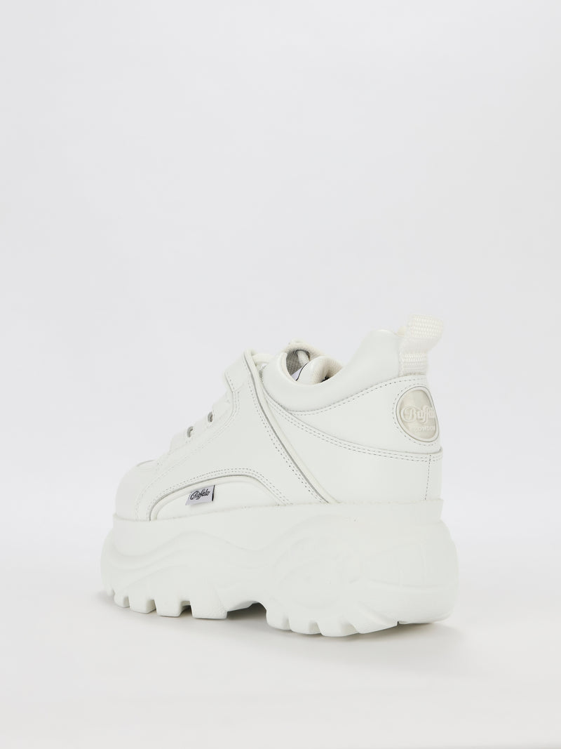 White Cow Leather Platform Sneakers