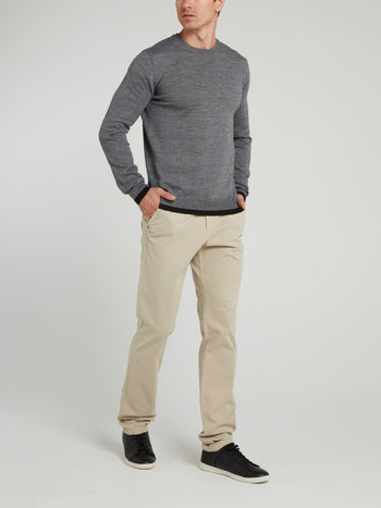 Beige Straight Cut Pants