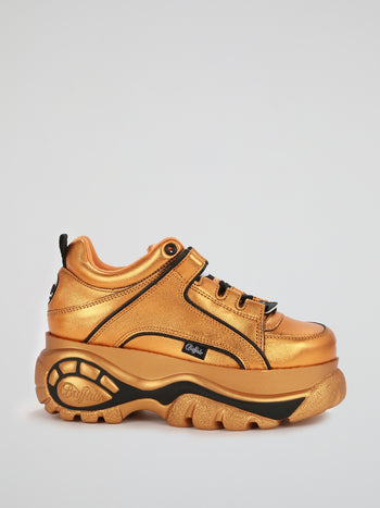 Metallic Orange Chunky Leather Sneakers