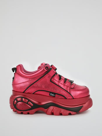 Magenta Metallic Chunky Leather Sneakers