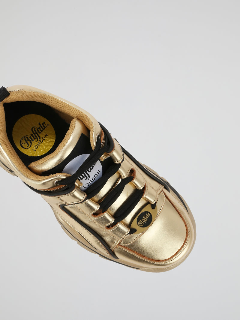 Gold Leather Platform Sneakers