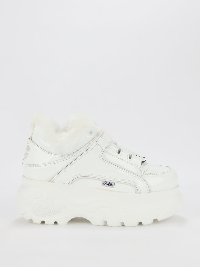 White Fur Trim Platform Sneakers