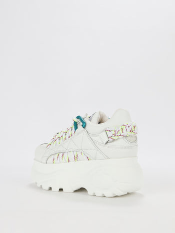 White Detailed Lacing Platform Sneakers
