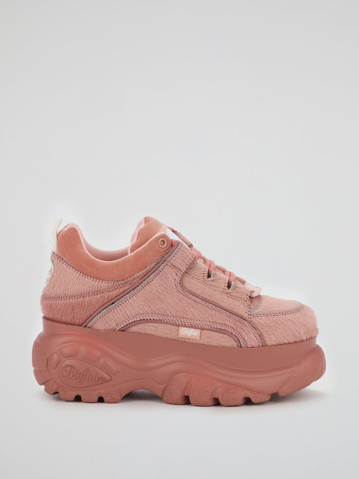 Pink Pony Fur Chunky Sneakers