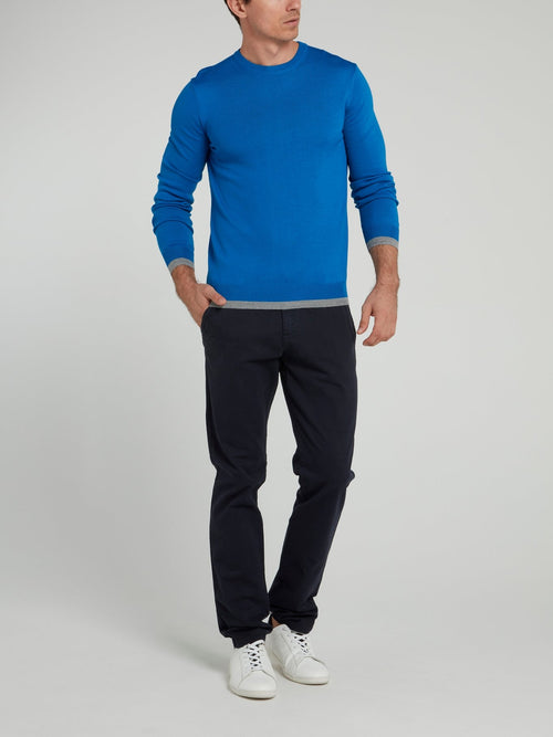 Navy Straight Fit Trousers