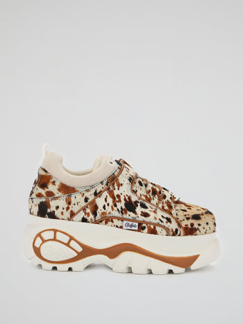 Animal Print Pony Fur Retro Sneakers