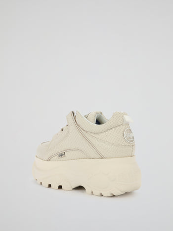 Beige Snake Leather Platform Sneakers