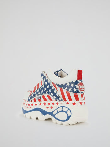 US Flag Leather Platform Sneakers