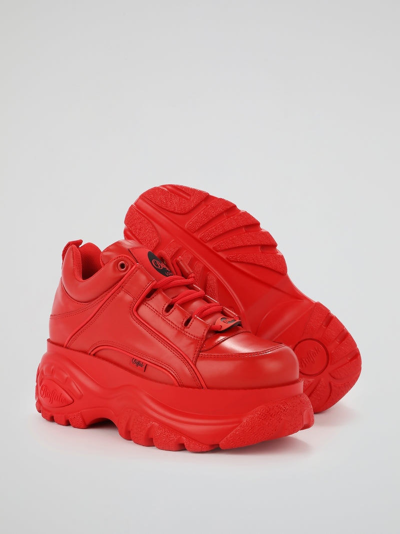 Red Chunky Leather Sneakers