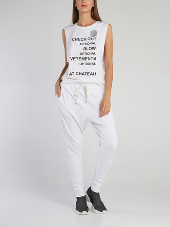 Chrissy White Statement Cut Off Top