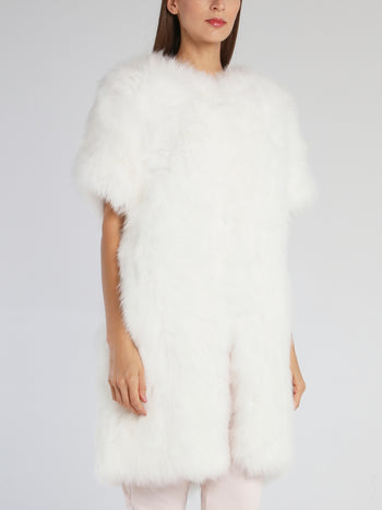 Liz White Fur Coat