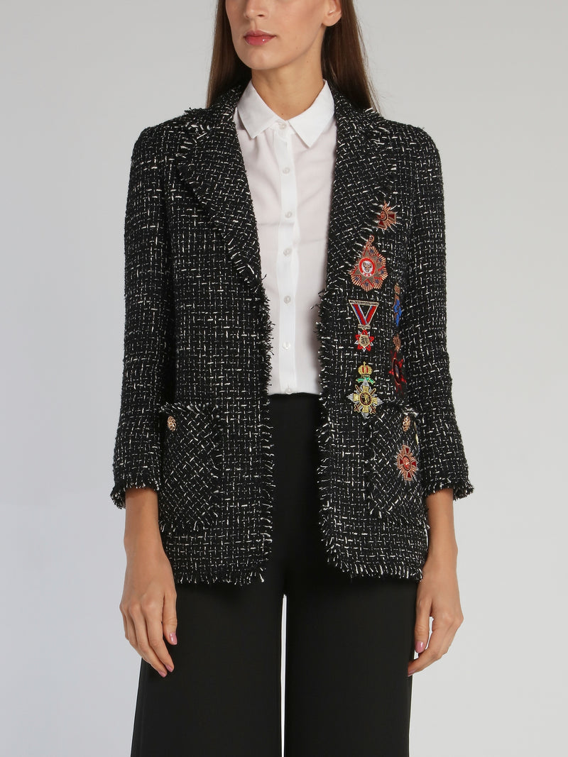 Black Patched Long Blazer