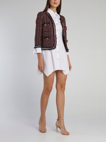 Appliquéd Check Tweed Jacket