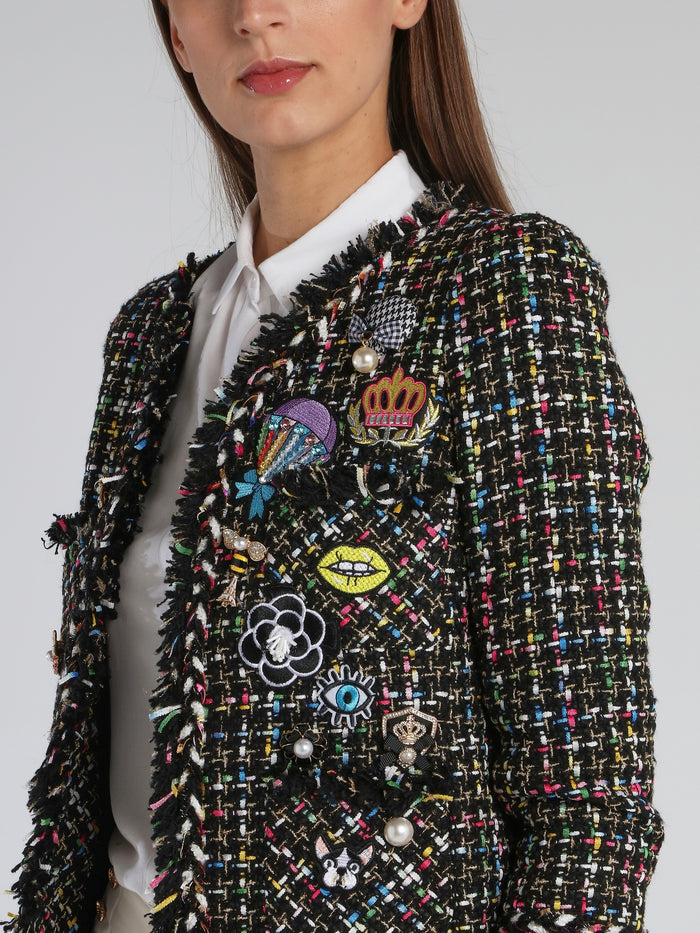 Patched Frayed Tweed Jacket