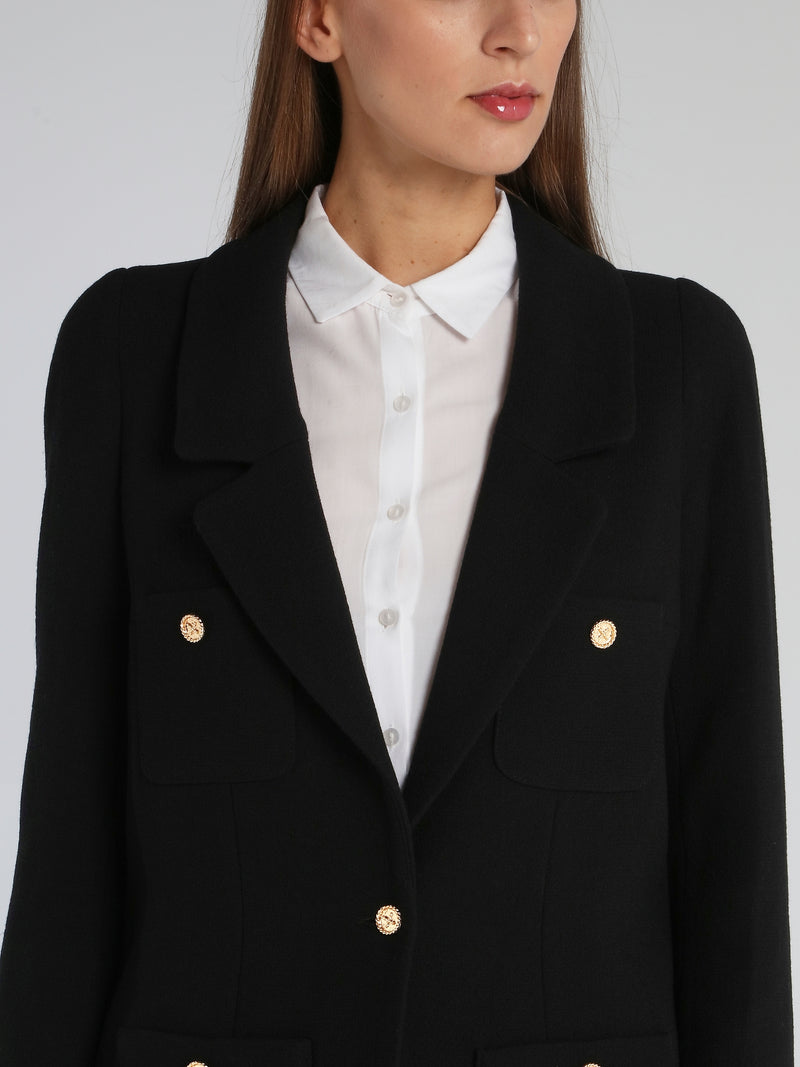Black Button Detail Long Blazer