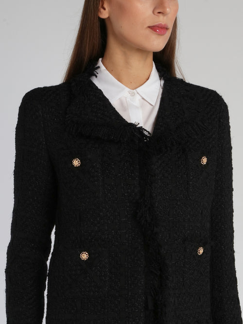 Black Frayed Tweed Blazer
