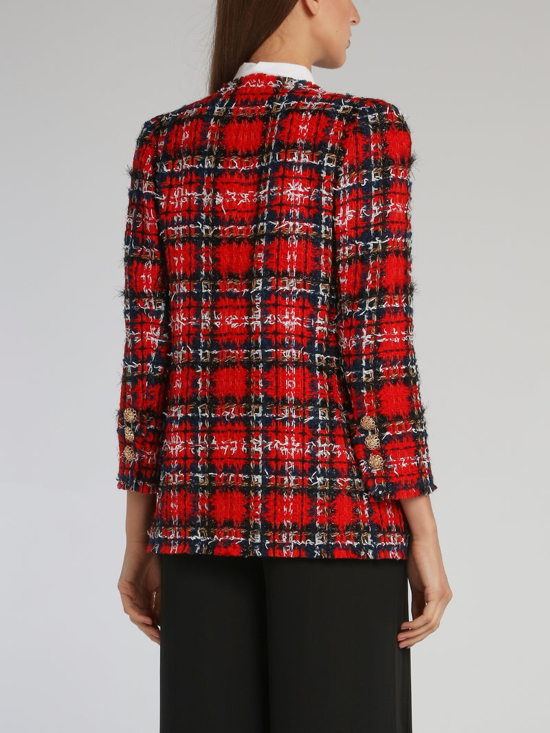 Red Check Tweed Blazer