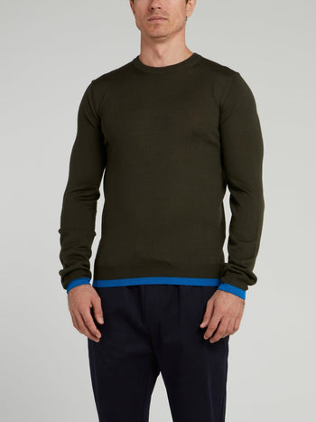 Olive Rear Logo Sweater