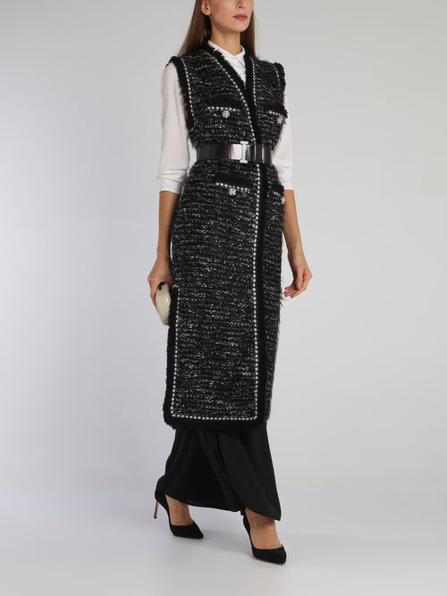 Black Frayed Tweed Long Coat