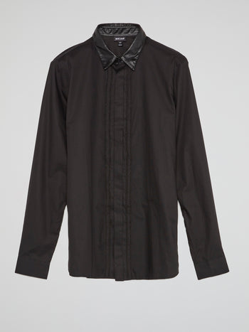 Black Leather Collar Shirt