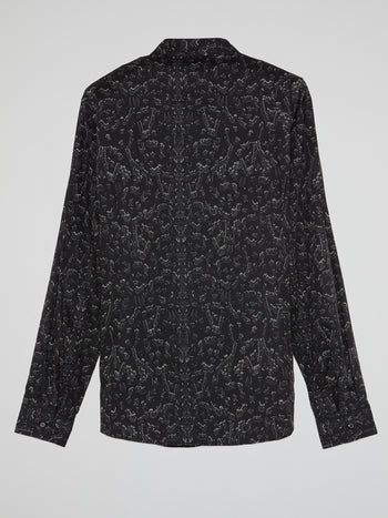 Black Safety Pin Print Shirt