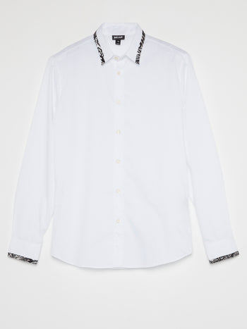 White Contrast Trim Shirt