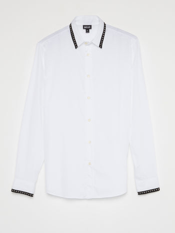 White Studded Trim Shirt