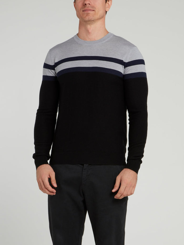 Black Striped Knitted Sweater