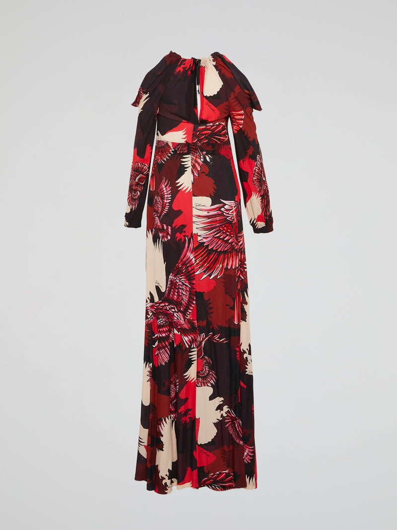 Eagle Print Long Sleeve Maxi Dress