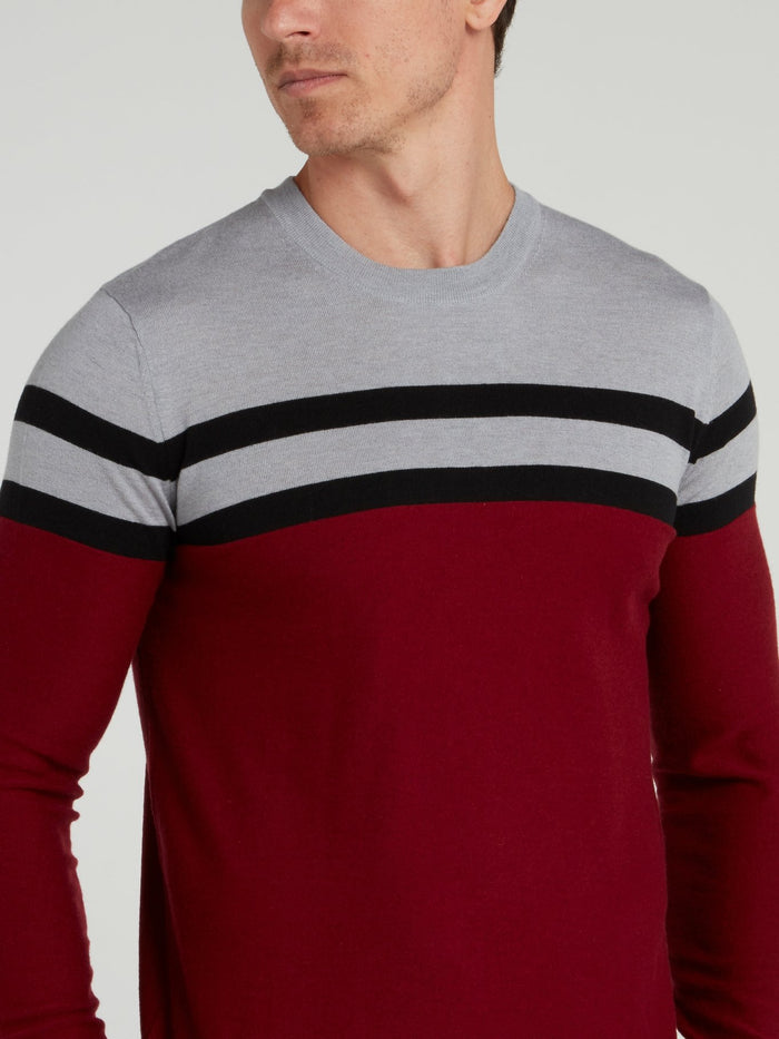 Burgundy Striped Knitted Sweater