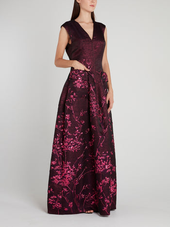 Purple Pocket Detail Maxi Dress