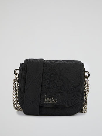 Black Mini Dafne Lace Shoulder Bag