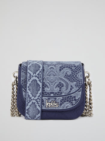 Blue Mini Dafne Lace Shoulder Bag