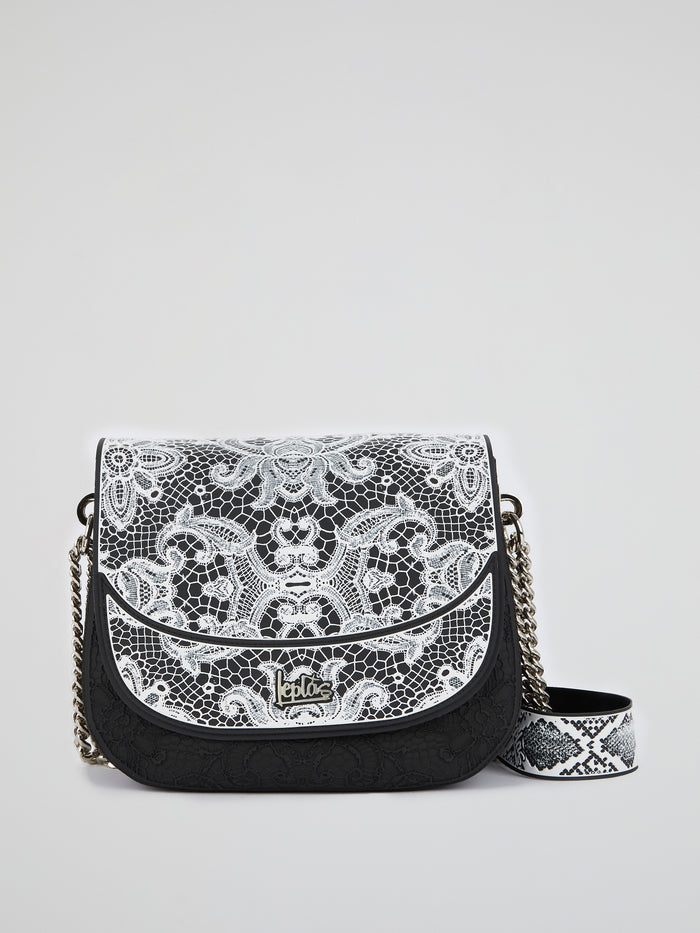 White Big Dafne Lace Shoulder Bag