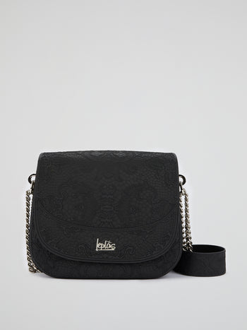 Black Big Dafne Lace Shoulder Bag