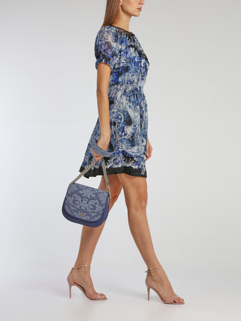 Blue Big Dafne Lace Shoulder Bag