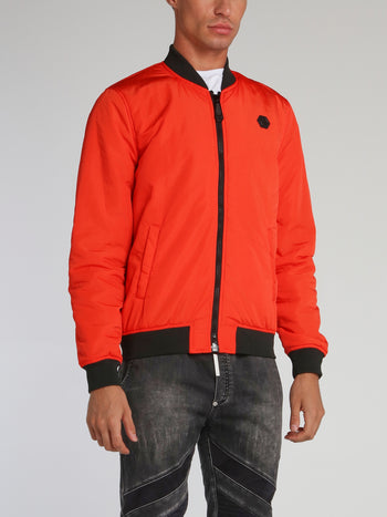Orange Zip Through Bomber Jacket