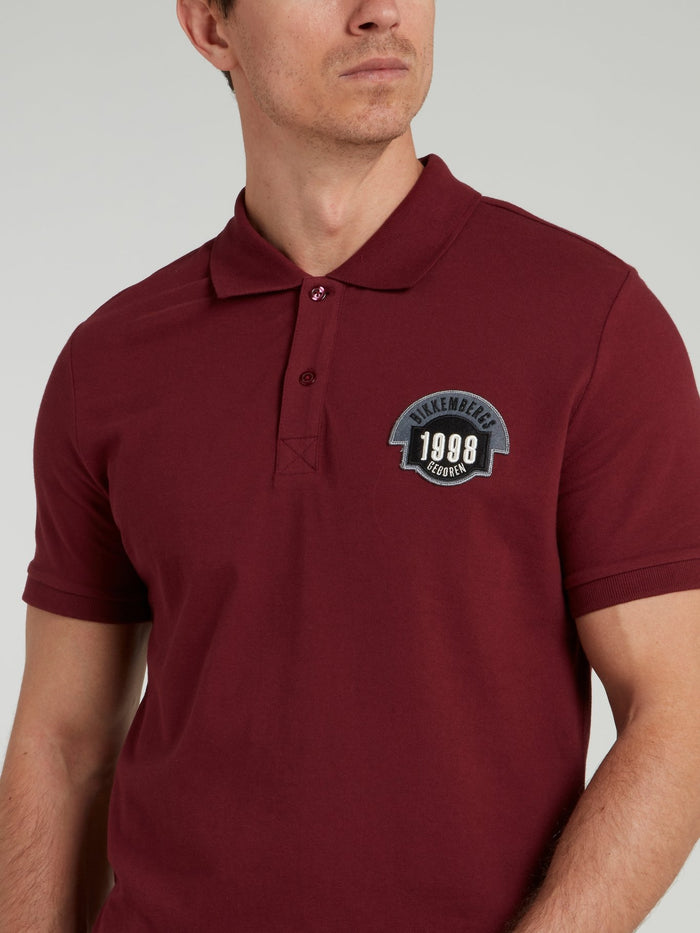 Burgundy Logo Knitted Polo Shirt