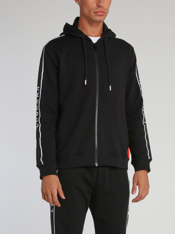 Black Logo Rib Zip Up Hoodie