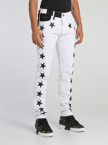 White Star Appliquéd Two-Tone Pants