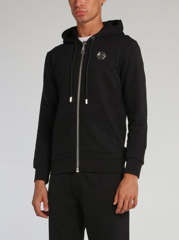Black Rear Studded Logo Hoodie Sweatshirt