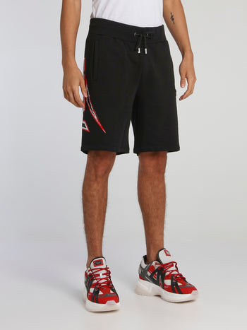 Space Plein Black Studded Jogging Shorts