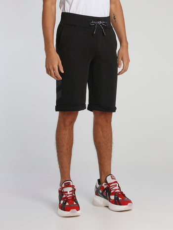 Black Folded Hem Jogging Shorts