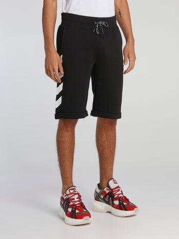 Black Chevron Print Jogging Shorts