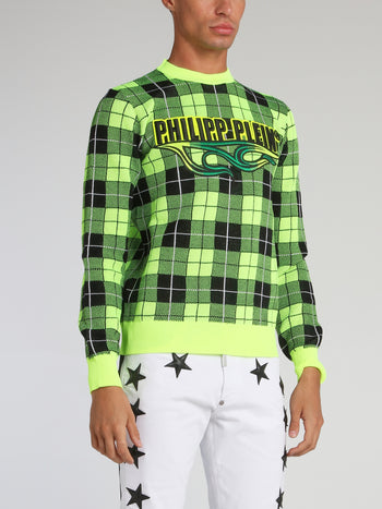 Chartreuse Check Knit Pullover